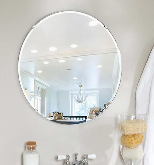 洗面鏡 浴室鏡 トイレ鏡 化粧鏡 日本製 正円形 鏡 650mm×650mm クリアーミラー クリスタルカット 国産 フレームレスミラー 風呂 鏡 壁掛け鏡 壁掛けミラー ウオールミラー 姿見 姿見鏡 ミラー