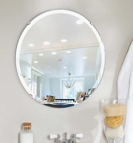 洗面鏡 浴室鏡 トイレ鏡 化粧鏡 日本製 高透過 超透明鏡 正円形 鏡 450mm×450mm スーパークリアーミラー デラックスカット 国産 フレームレスミラー 風呂 鏡 壁掛け鏡 壁掛けミラー ウオールミラー 姿見 姿見鏡 ミラー