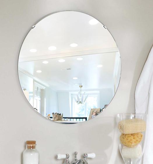 トイレ鏡 洗面鏡 化粧鏡 浴室鏡 クリスタルミラー シリーズ:cdx-circle550x550-km(サークル)(クリアーミラー シンプルタイプ)( 鏡 壁掛け 鏡 姿見 壁掛けミラー ウォールミラー )