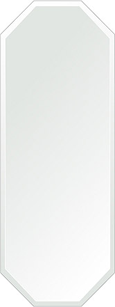 洗面鏡 浴室鏡 トイレ鏡 化粧鏡 日本製 八角形 鏡 450mm×1200mm クリアーミラー デラックスカット 国産 フレームレスミラー 風呂 鏡 壁掛け鏡 壁掛けミラー ウオールミラー 姿見 姿見鏡 ミラー