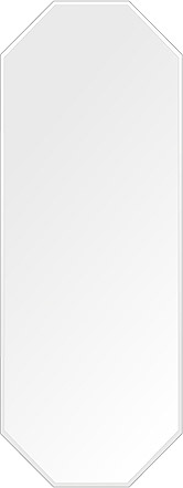 鏡 壁掛け 鏡 ミラー 日本製 高透過 超透明鏡 八角形 鏡 450mm×1200mm スーパークリアーミラー クリスタルカット 国産 フレームレスミラー 壁掛け鏡 壁掛けミラー ウォールミラー 姿見 姿見鏡 インテリアミラー (リビング、玄関、廊下、寝室など一般空間用)