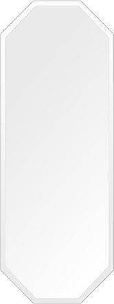 鏡 壁掛け 鏡 ミラー 日本製 高透過 超透明鏡 八角形 鏡 450mm×1200mm スーパークリアーミラー デラックスカット 国産 フレームレスミラー 壁掛け鏡 壁掛けミラー ウォールミラー 姿見 姿見鏡 インテリアミラー (リビング、玄関、廊下、寝室など一般空間用)