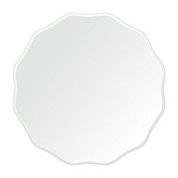 クリスタル ミラー 洗面鏡 浴室鏡 450x450mm サークル ウエーブ クリスタルカット 洗面 鏡 浴室 壁掛け ミラー 日本製 5mm厚 取付金具と説明書 壁掛け鏡 ウオールミラー 防湿鏡 姿見 全身 おしゃれ 軽量 正円形 波型 波 ウェーブ 洗面台 防湿 お風呂