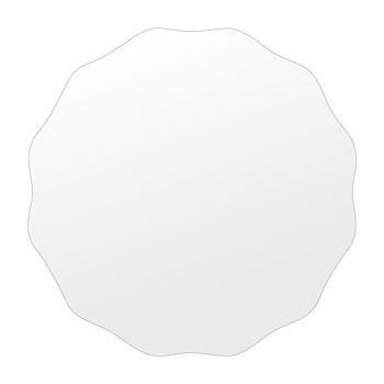 洗面鏡 浴室鏡 トイレ鏡 化粧鏡 日本製 高透過 超透明鏡 サークル ウエーブ 450mm×450mm スーパークリアーミラー シンプルタイプ 国産 フレームレスミラー 風呂 鏡 壁掛け鏡 壁掛けミラー ウオールミラー 姿見 姿見鏡 ミラー