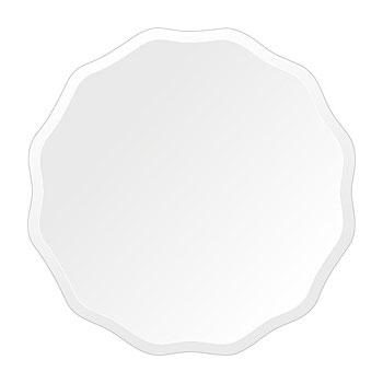 洗面鏡 浴室鏡 トイレ鏡 化粧鏡 日本製 高透過 超透明鏡 サークル ウエーブ 450mm×450mm スーパークリアーミラー デラックスカット 国産 フレームレスミラー 風呂 鏡 壁掛け鏡 壁掛けミラー ウオールミラー 姿見 姿見鏡 ミラー