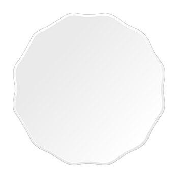 洗面鏡 浴室鏡 トイレ鏡 化粧鏡 日本製 高透過 超透明鏡 サークル ウエーブ 450mm×450mm スーパークリアーミラー クリスタルカット 国産 フレームレスミラー 風呂 鏡 壁掛け鏡 壁掛けミラー ウオールミラー 姿見 姿見鏡 ミラー