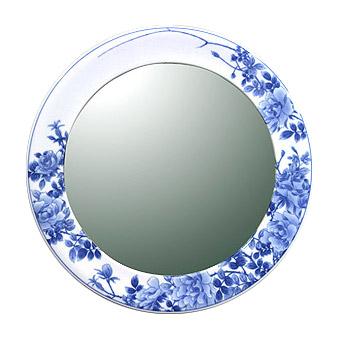 有田焼 伊万里焼 磁器 陶磁器 の 鏡 ミラー 壁掛け鏡 壁掛けミラー ウオールミラー:yt-w400h400-2.5k-rs(フレームミラー 壁掛け 壁付け 姿見 姿見鏡 壁 おしゃれ エレガント 化粧鏡 アンティーク 玄関 玄関鏡 洗面所 トイレ 寝室 )