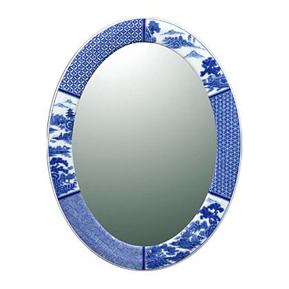 有田焼 伊万里焼 磁器 陶磁器 の 鏡 ミラー 壁掛け鏡 壁掛けミラー ウオールミラー:yt-w430h570-3.6k-sz(フレームミラー 壁掛け 壁付け 姿見 姿見鏡 壁 おしゃれ エレガント 化粧鏡 アンティーク 玄関 玄関鏡 洗面所 トイレ 寝室 )