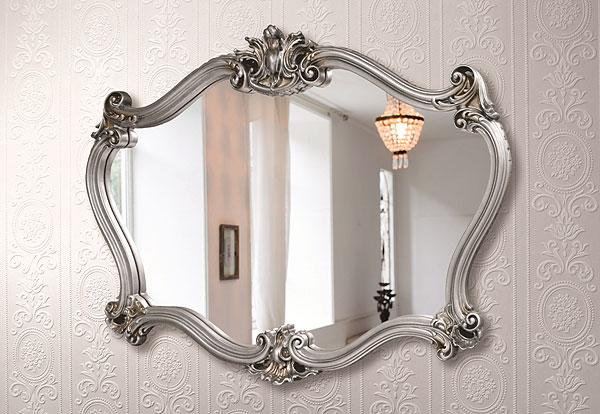 シルバー 銀 銀箔 仕立ての 鏡 ミラー 壁掛け鏡 壁掛けミラー ウオールミラー:AaM-5r5S(フレームミラー 壁掛け 壁付け 姿見 姿見鏡 壁 おしゃれ エレガント 化粧鏡 アンティーク 玄関 玄関鏡 洗面所 トイレ 寝室 )