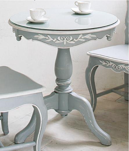 【送料無料】コーヒー テーブル ガラス テーブル ガラス製テーブル フレンチグレーXアンティークホワイト:CFTCaE-1r014-GR