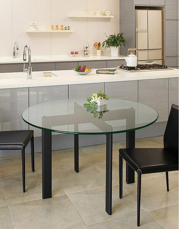 クリスタル ダイニングテーブル ガラス 黒 直径120cm ガラステーブル リビングテーブル ハイテーブル オフィステーブル 会議テーブル ミーティングテーブル スチール アイアン テーブル ダイニング リビング オフィス ブラック 北欧 おしゃれ 硝子