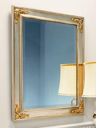 シルバー 銀 銀箔 仕立ての 鏡 ミラー 壁掛け鏡 壁掛けミラー ウオールミラー:MaB-3r853(フレームミラー 壁掛け 壁付け 姿見 姿見鏡 壁 おしゃれ エレガント 化粧鏡 アンティーク 玄関 玄関鏡 洗面所 トイレ 寝室 )