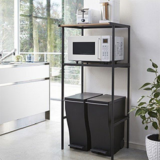 キッチン ゴミ箱(ごみ箱)の上に設置する!電子レンジ収納ラック、電子レンジ ラック、キッチン用品、キッチン ラック、キッチン収納:2y86z0