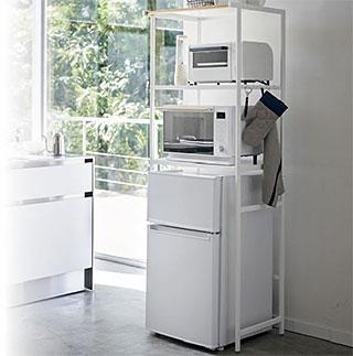 冷蔵庫の上に設置する!電子レンジ収納ラック 電子レンジ ラック キッチン用品 キッチン ラック キッチン収納:3y59z5