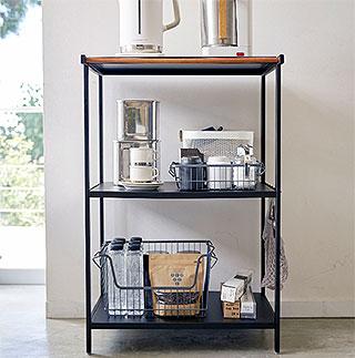 スチールと木の組み合わせが美しい3段キッチンラック!キッチン用品 キッチン ラック キッチン収納:3y59z8