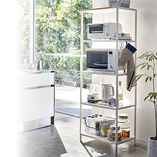 スチールと木の組み合わせが美しい3段キッチンラック!キッチン用品、キッチン ラック、キッチン収納:3y59z9