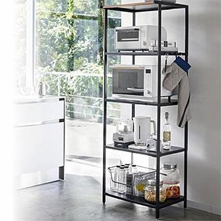スチールと木の組み合わせが美しい3段キッチンラック!キッチン用品 キッチン ラック キッチン収納:3y60z0