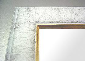 鏡 ミラー 壁掛け鏡 ウォールミラー:ホワイトマーブル(白色大理石風)Mサイズ
