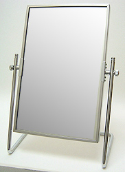 鏡の専門店 業務用 プロ仕様 鏡 ミラー 卓上鏡 卓上ミラー スタンドミラー ミラースタンド スタンド メーキャップミラー 化粧鏡 コスメミラー:シルバーフレーム スクエア(小)(片面鏡)