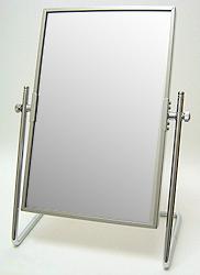 鏡の専門店 業務用 プロ仕様 鏡 ミラー 卓上鏡 卓上ミラー スタンドミラー ミラースタンド スタンド メーキャップミラー 化粧鏡 コスメミラー 卓上鏡 卓上ミラー :シルバーフレーム スクエア(大)(片面鏡)
