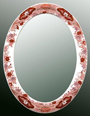 有田焼 伊万里焼 磁器 陶磁器 の 鏡 ミラー 壁掛け鏡 壁掛けミラー ウオールミラー:yt-w650h1050-8k-ts(フレームミラー 壁掛け 壁付け 姿見 姿見鏡 壁 おしゃれ エレガント 化粧鏡 アンティーク 玄関 玄関鏡 洗面所 トイレ 寝室 )