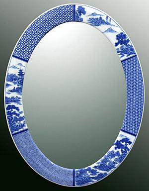 有田焼 伊万里焼 磁器 陶磁器 の 鏡 ミラー 壁掛け鏡 壁掛けミラー ウオールミラー:yt-w650h1050-8k-sz(フレームミラー 壁掛け 壁付け 姿見 姿見鏡 壁 おしゃれ エレガント 化粧鏡 アンティーク 玄関 玄関鏡 洗面所 トイレ 寝室 )