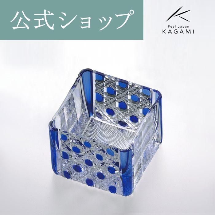 【メーカー直営店】江戸切子 カガミクリスタルKAGAMI升グラス<鮫小紋>T723-2614-CCB