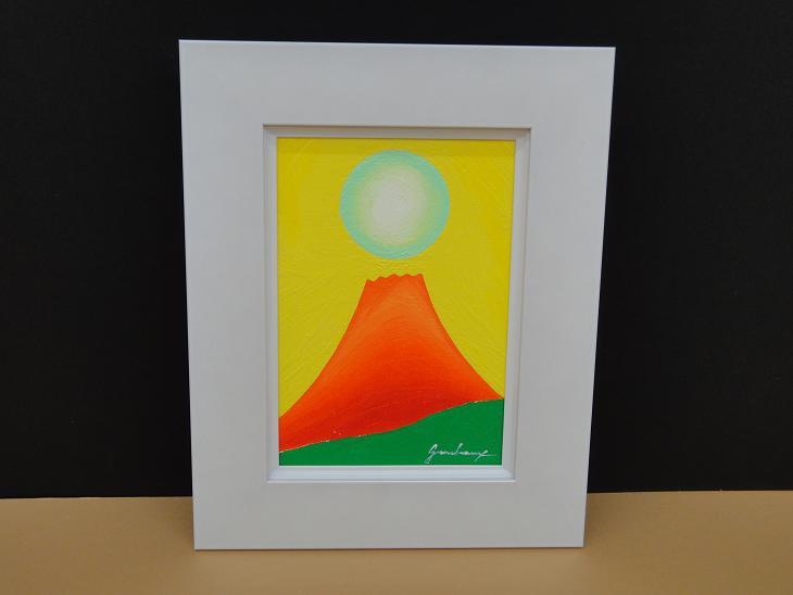 3450 白/SM 絵画 油絵 SMサイズ油絵額 『日の出赤富士』 運気上昇 発展運 富士山 送料無料