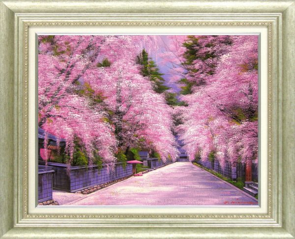 絵画、油絵、桜、桜の絵 、角館の桜、 F20 606x727mm 木村 由紀夫