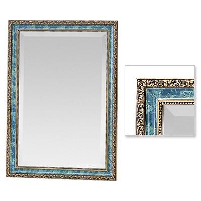 吊り鏡、 姿見鏡、 壁掛け鏡、ウオールミラー 在庫処分価格 ナポリB/ブルー 木製