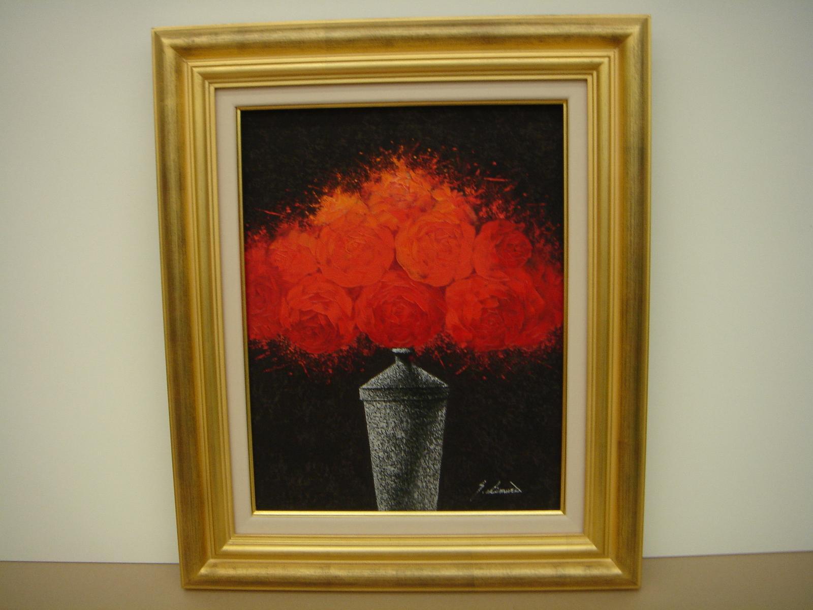 絵画・油絵・油絵額・赤いバラの絵・花の絵 F4
