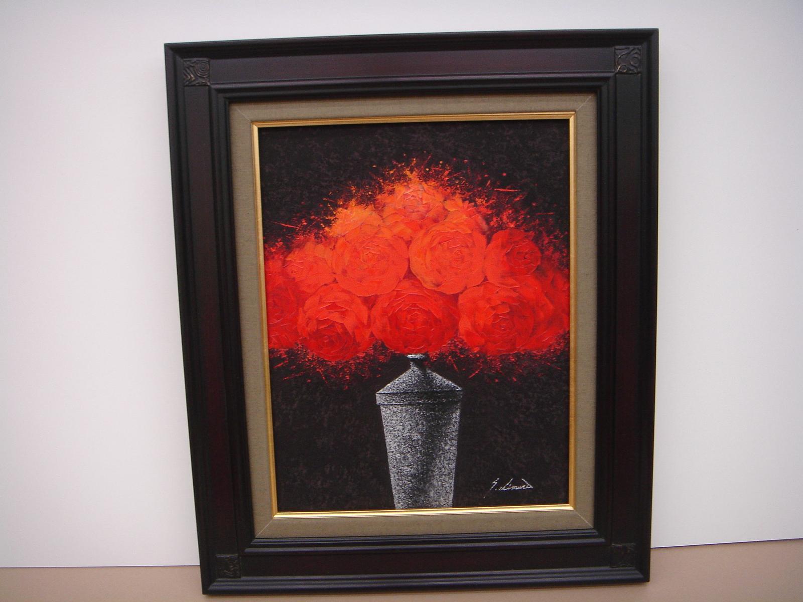 絵画 油絵 油絵額 花の絵 赤いバラの絵 F6