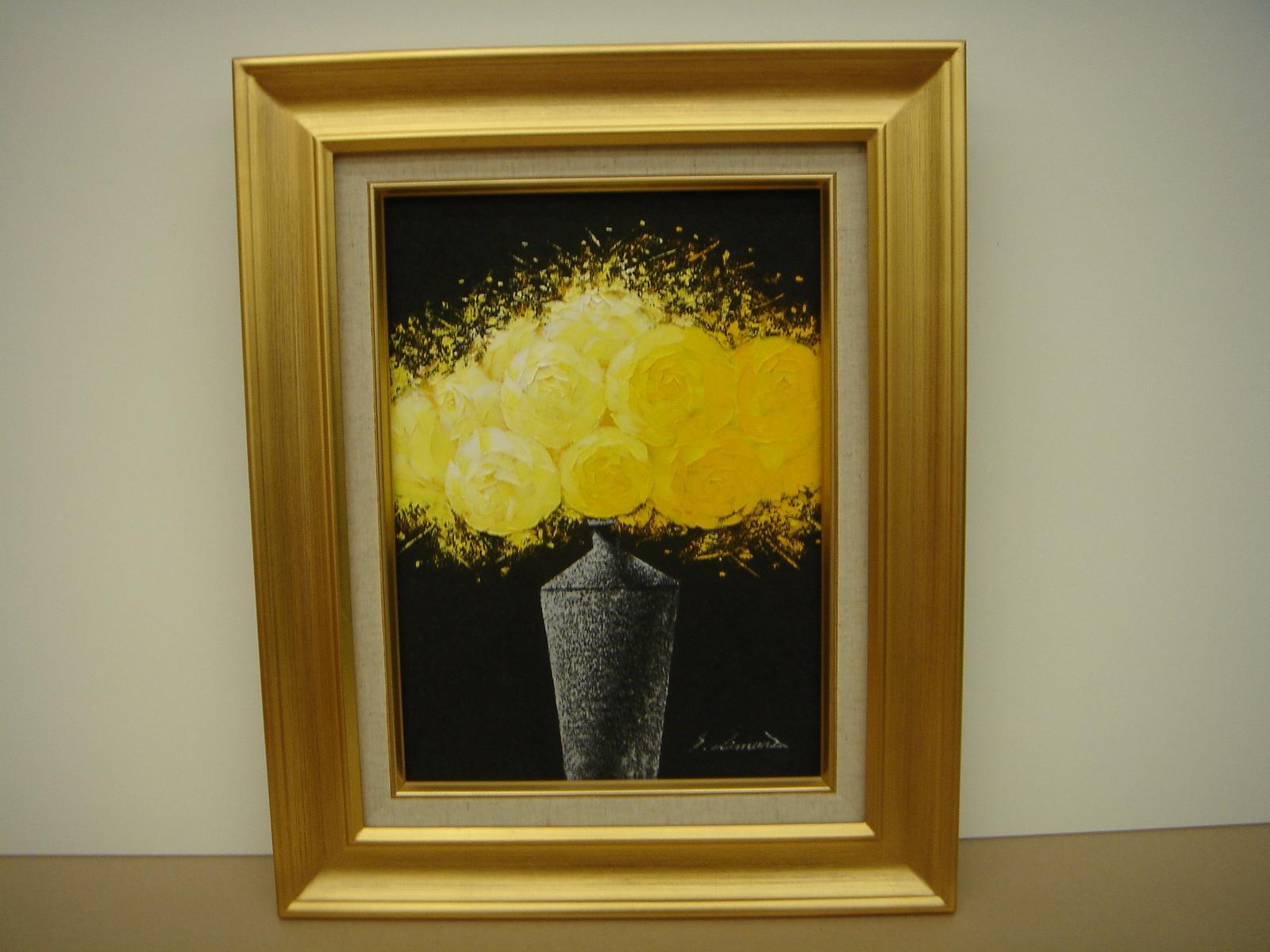 絵画 油絵 油絵額 花の絵 黄色いバラの絵 F4
