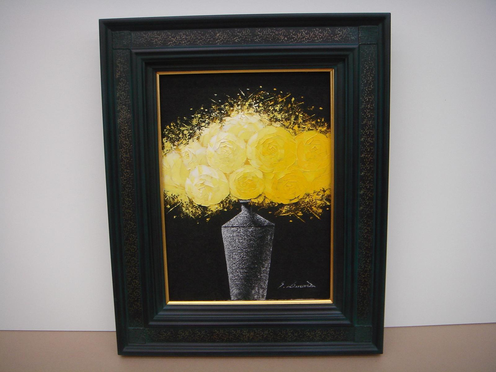 絵画 油絵 油絵額 花の絵 黄色いバラの絵 F6