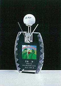 ゴルフ ホールインワン記念品 ガラス楯B KTO-799B