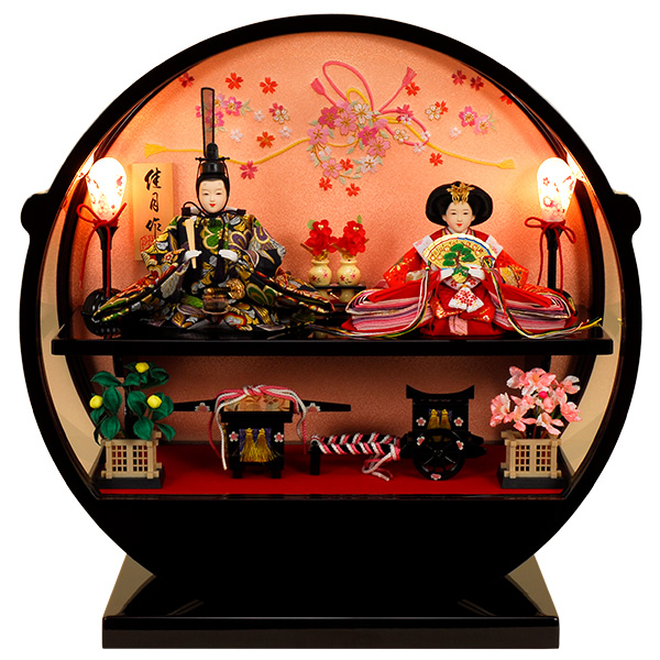 雛人形 ひな人形 K121コンパクト 佳月 かげつ 雛人形 雛 ケース飾り 雛 五人飾り 雛名匠・逸品飾り 高級品 即日発送