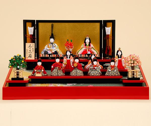 雛人形 K415木目込み人形飾り 真多呂作【ひな人形】【人形の佳月】【送料無料】【段飾り】【高級品】