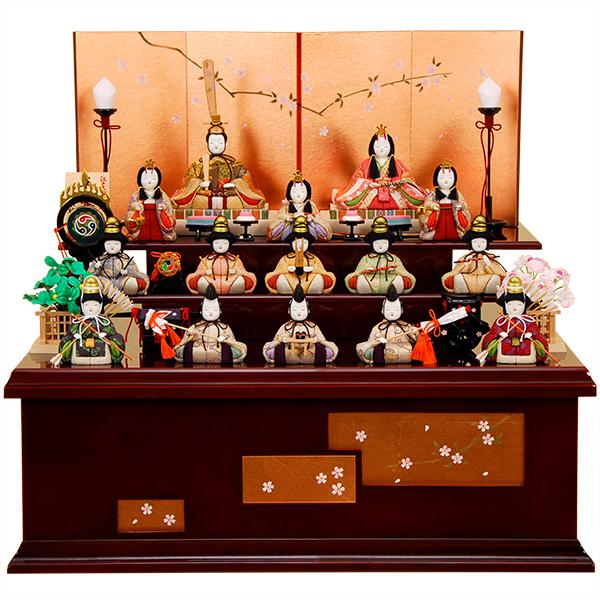 雛人形 K458木目込み人形飾り 木村一秀作【ひな人形】【佳月】【かげつ】【送料無料】【15人飾り】【収納飾り】【高級品】