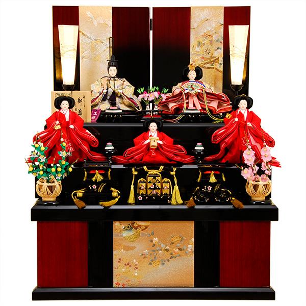 雛人形 ひな人形 K319 京都西陣帯 雛人形 コンパクト収納飾り 三段飾り 名匠・逸品飾り 人形の佳月 ひな 即日発送 【2020年新作】