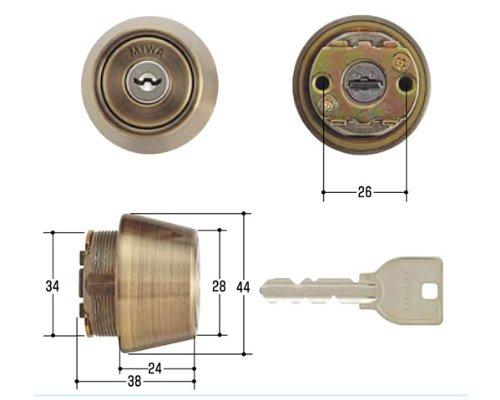 【MIWA/美和ロック】鍵 U9シリンダー TE24 SA(真鍮アンバー色仕上)