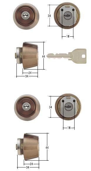 MIWA/美和ロック 鍵 U9シリンダー LZ2 CB(ブロンズ)2ヶ同一