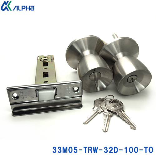 ミリオンロック 33M05シリーズ フロント記号TA-E ドアノブ 鍵付き キー3本付 アルファ 33M05-TRW-32D-100-TO BS100mm ケースセット 鍵 予約販売 ノブ 全品送料無料 TA- ALPHA ピンシリンダータイプ E鍵 交換 シリンダー