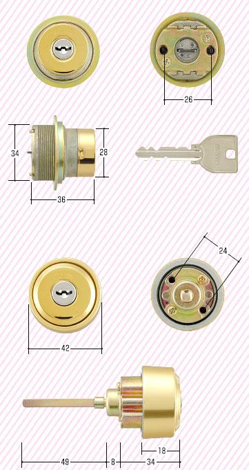 U9シリンダー新日軽コンポーレ用シリンダーゴールド色シリンダー2個、キー3本