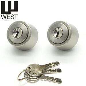 鍵 交換 シリンダー 取替え 2個同一【MIWA-LZ2タイプ交換シリンダー】 WEST916-LZ18-SS キー6本付