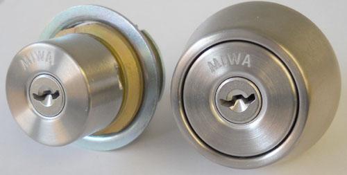 MIWA U9シリンダーMIWA LESP(LIX)+MIWA TE-08(LSP)用玄関 鍵(カギ) 交換 取替えシリンダー《ドアの厚み 28~42mm》2個同一キーシリンダー仕様シルバー色■標準キー6本付き■【送料無料】