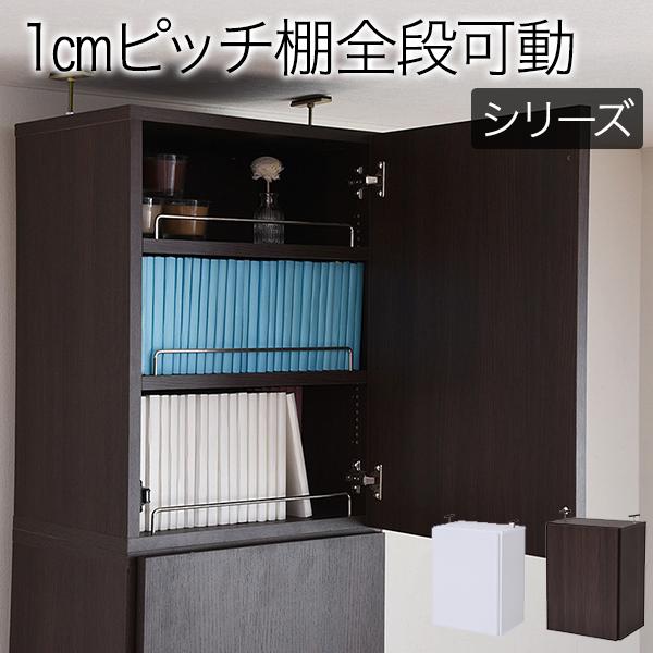 深型 本棚 扉付 上置き 幅 41.5 MEMORIA 棚板が1cmピッチで可動する 本棚