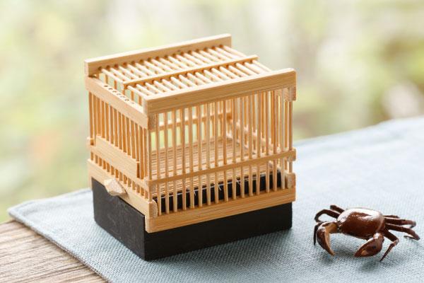 昔ながらの形が風流な 竹細工 直営店 虫かご 限定モデル 約 角 横幅5.5×奥行き4.5×高さ5.5cm
