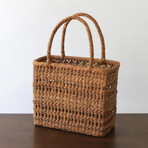 透かし編みやまぶどう籠(二番皮/ボックス/小サイズ)(約)幅22.5×マチ11×本体高さ20cm(約)300g[かごバッグ 山葡萄]
