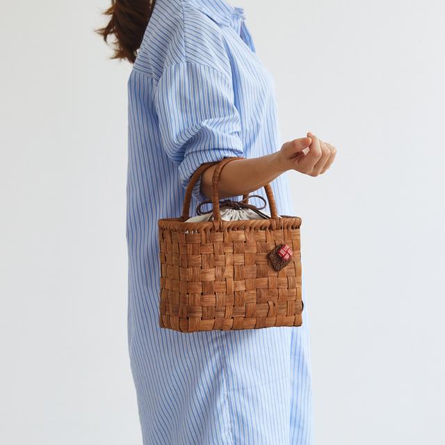 【限定15個】やまぶどう籠(太ひご/市松編み/ボックス型/小サイズ/リネン巾着袋/やまぶどうチャーム)