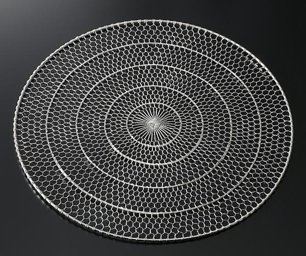 【10枚セット・2割引】ステンレス手編み目皿(ぎんす)直径28cm(足無し)